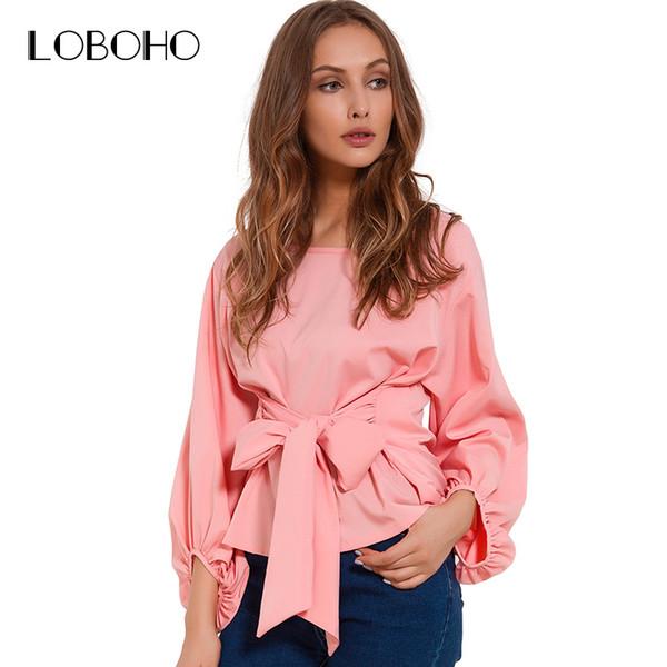 Chiffon Wrap Blouse Women Shirts 2018 Autumn Fashion Lantern Long Sleeve Blouses With Bow Belt Loose Casual Tops Womens Clothing C19042201