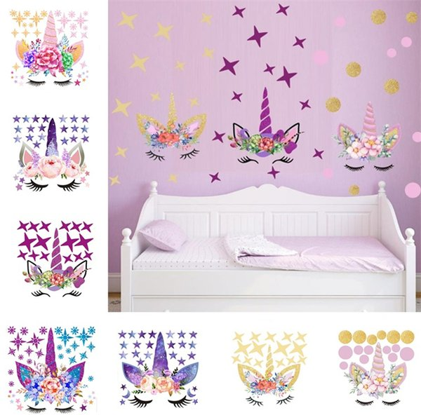 Three DIY Unicorn Stickers Cartoon Star Wall Stickers Star Flower Wall  Sticker Children\'S Bedroom Wall Sticker T6I6002 Wall Decals Cheap Wall  Decals ...