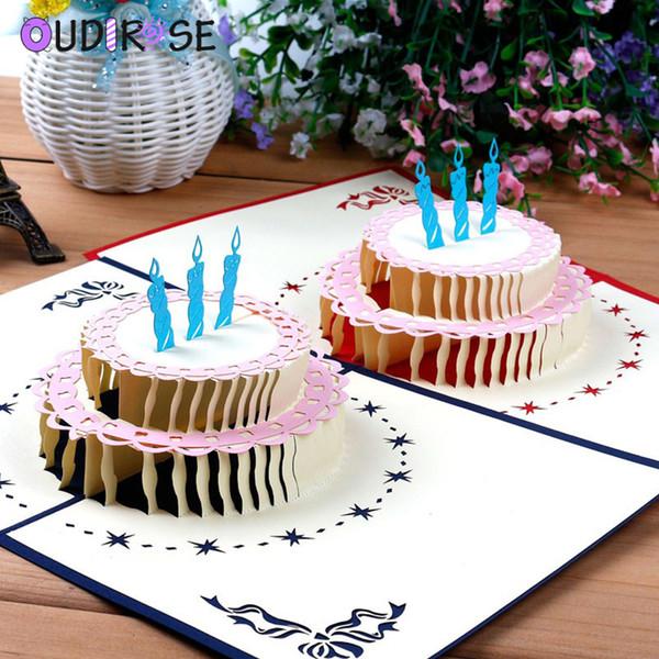 OUDIROSE Cartolina d'auguri di buon compleanno Carta in bianco Biglietto d'auguri 3D Biglietto regalo pop-up fatto a mano Invito con taglio laser personalizzato con busta