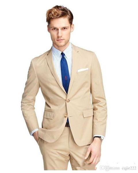 Nuovo arrivo smoking smoking due bottoni beige tacca bavero sposi best man suit abiti da uomo mens (giacca + pantaloni + cravatta) 441