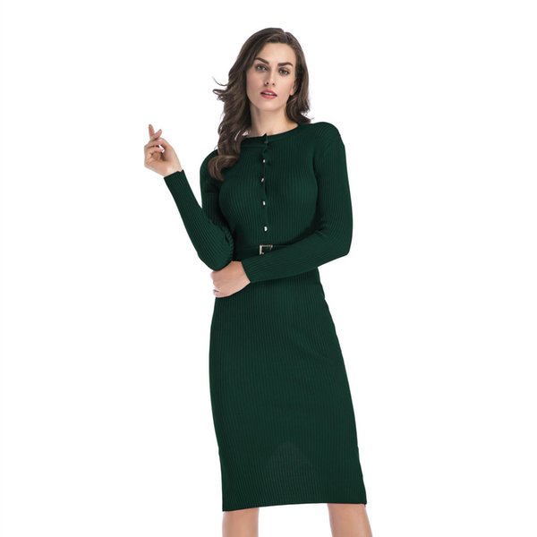 Slim Fit Womens Dress Long-sleeved Knit Dresses Female Solid Color With Belt Sexy Package Hip Pencil Skirt