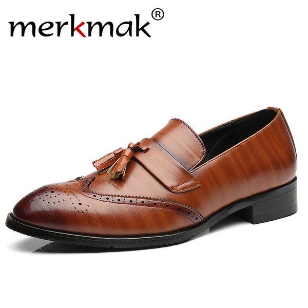 Merkmak Brogue Shoes Men High Quality Tassel British Style Carved Split Leather Shoes Lace Up Business Mens Shoes Plus Size 48