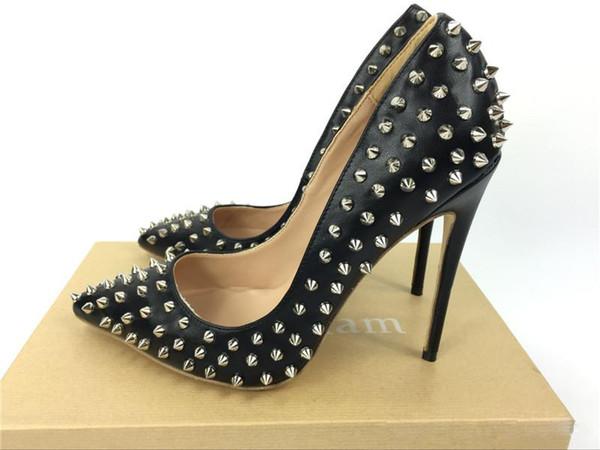 Chaussures De Mariage De Mode Rouge Bas Talons Hauts Rivets En Cuir Verni À Talons Femmes Talons Hauts Chaussures Habillées Chaussures De Soirée 12 10 8 cm taille 34