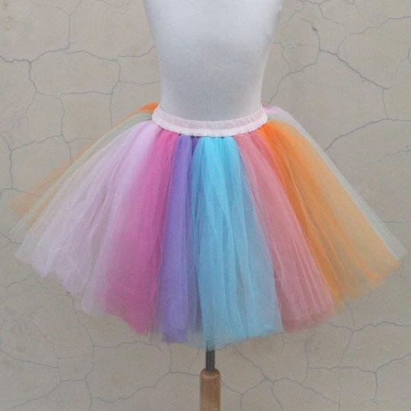 Usine Nouveau Design Adulte Plus La Taille Fluffy Chiffon Rainbow Femmes Jupe