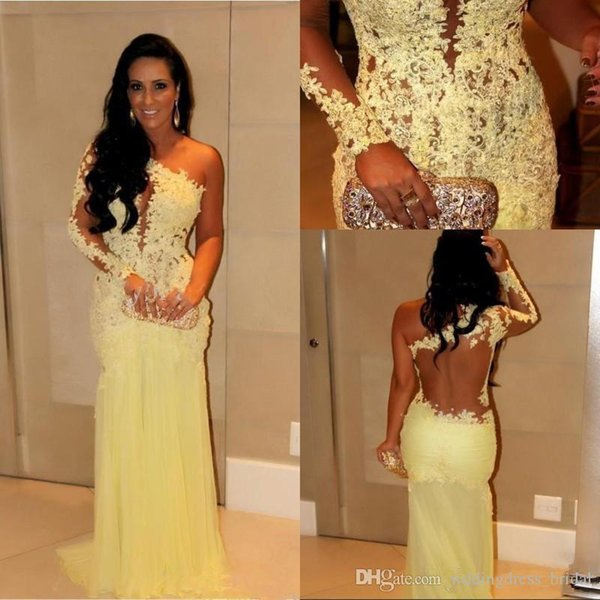 2019 One Shoulder Evening Gowns with Long Sleeves Mermaid Dubai Lace Indian Celebrity Evening Dresses Long Arabic Women Formal Gowns