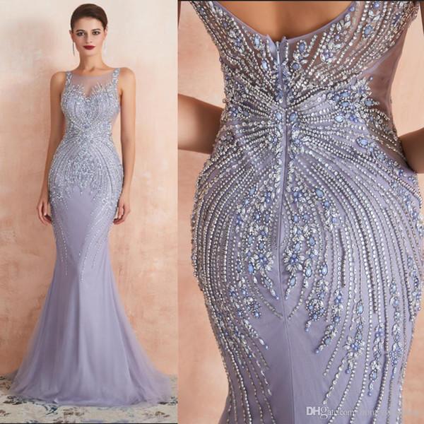Lavender Heavy Crystal Beaded Evening Dress 2020 New Mermaid Long Prom  Dress Luxueux Scoop Special Occasion Dresses Floor Length