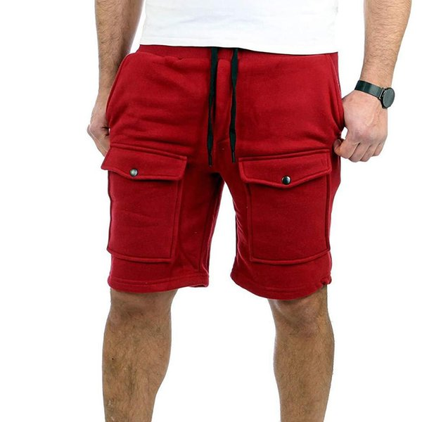 Hot Summer Sports Men Solid Color Drawstring Shorts Fifth Pants Fitness Trousers