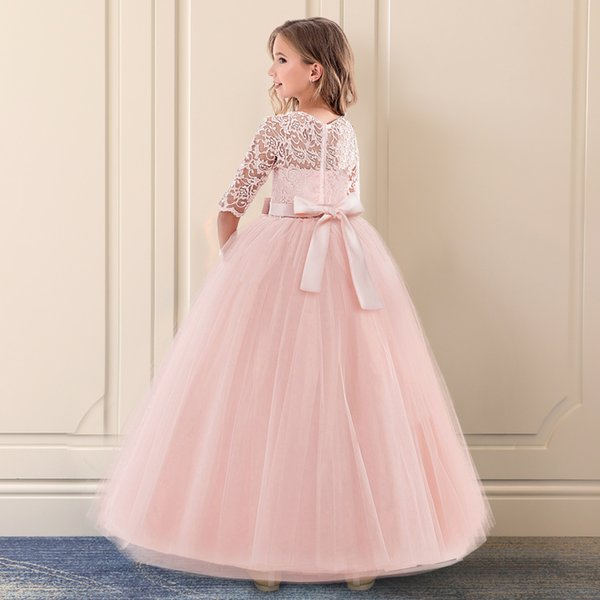Kids Bridesmaid Lace Girls Dress For Weddding And Party Dresses Evening Christmas Girl Long Costume Princess Children Fancy 6 14Y XF42