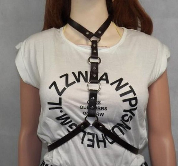 Womens Leather Harness Belt - Sexy Bondage Statement Chokers Waistband - Punk Fashion Cosplay Festival Party Jewelry 2 Colors