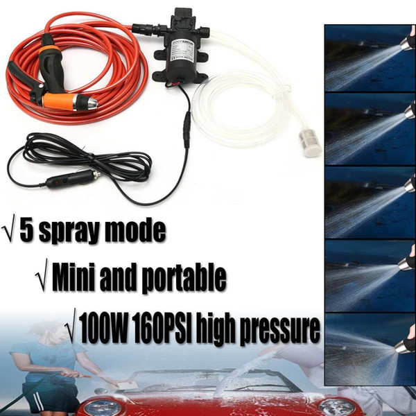 6 Unids / set 12V 100W Autocebado de alta presión Lavadora portátil de lavado de coches eléctricos Bomba de agua de lavado