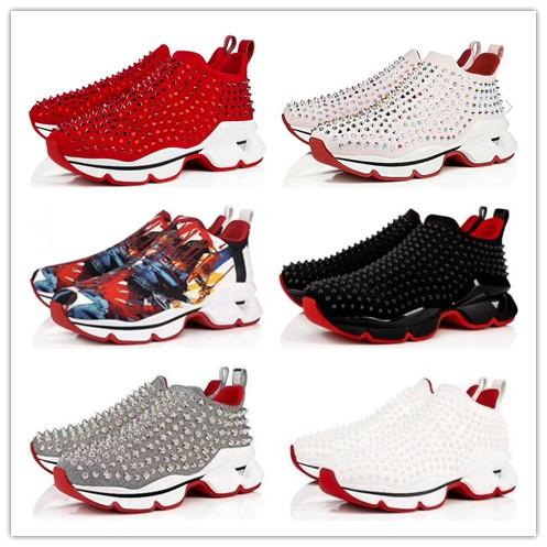 Kırmızı Alt Spike Çorap rahat ayakkabılar, Krystal Spikes ile Kırmızı Taban Yassı, 30mm Siyah Beyaz Donna Flats Kadın Erkek Sneakers için 70