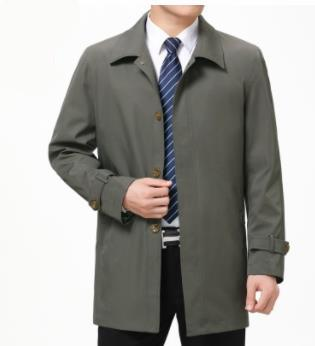 mens business designer trench coats lapel neck autumn long sleeve outerwear casual middleaged and elder coats