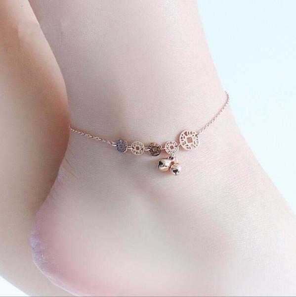 Vintage coin bell stainless steel foot bracelet cheville accessoire femme, bead anklet bracelet women rose gold color jewelry
