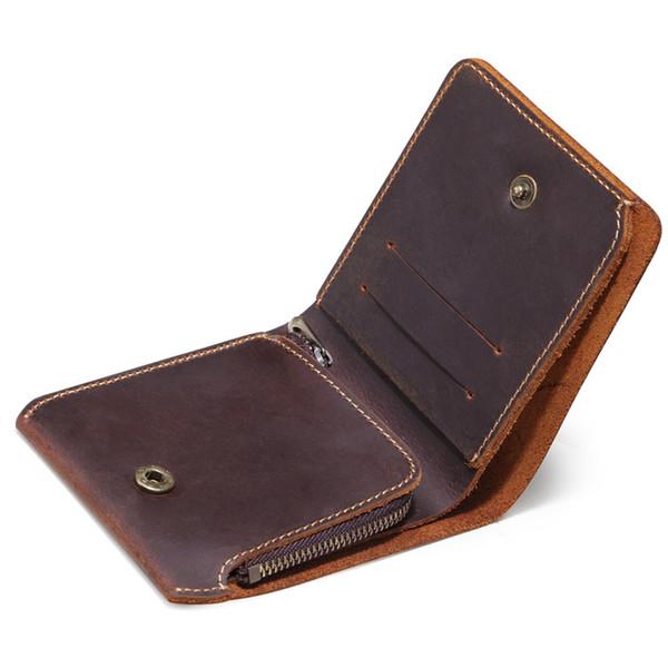 Hombres Vintage monedero de cuero con cremallera Coin Pocket Monedero de cuero genuino corto hecho a mano para hombre diseño creativo 2018 nuevo # 124954