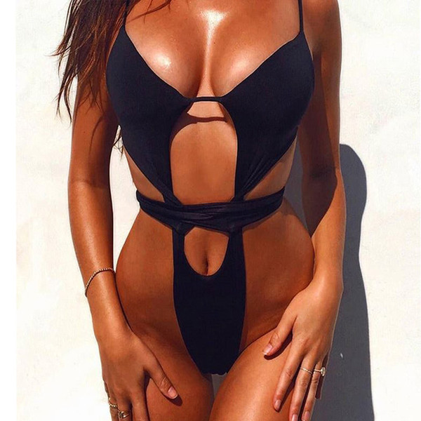 Black White High Leg Sexy Swimsuit Women One Piece Swim Suit Ladies Bikini Brazilian Push Up Swimwear Female Thong Bathing Suits
