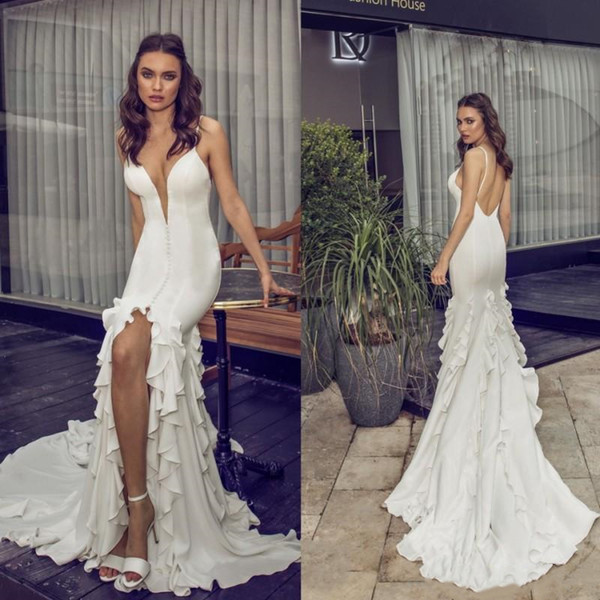 Riki Dalal 2019 Mermaid Wedding Dresses Long Train Sexy Spaghetti Straps Plunging V Neck Slit Front Rufles Skirt Garden Beach Bridal Gowns