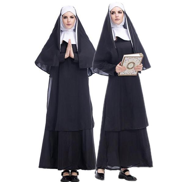 Designer Traje de Halloween Adulto Jesus Cristo Mulheres Manga Longa Missionário Pastor Roupas Maria Padre Freira Serviço Dramatização