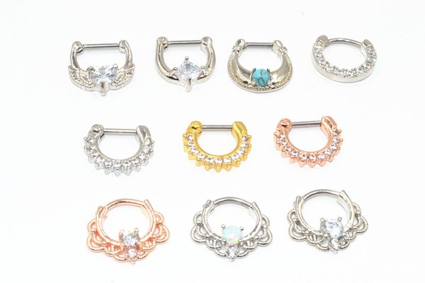 50pcs Body Jewelry Piercing - CZ Shining Nose Septum Ring Ear Helix Bar 16g Piercing Nose Septum Ring Opalite Mix Styles New