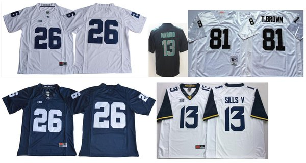 watch b6593 2dbed 2019 Penn State Nittany Lions #26 Saquon Barkley Mens College Vintage Miami  13 Dan Marino 81 Tim Brown Color Rush American Football Jerseys Cheap From  ...