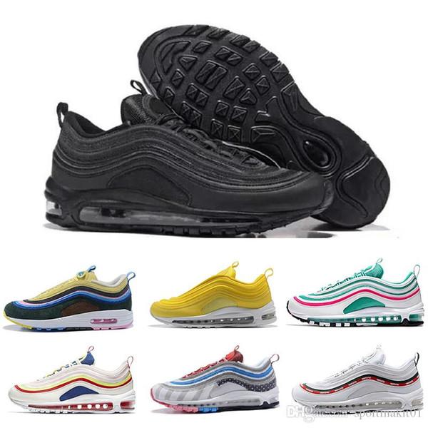 Compre Nike Air Max 97 Airmax Original Casual Hombre Zapatos Bajos Cojín Hombre Tamaño Mujer Oro Plata Aniversario Zapatillas De Deporte Edición
