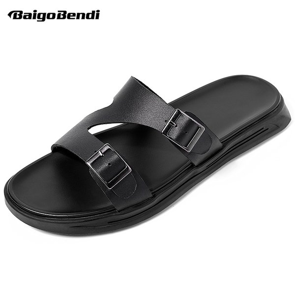 new summer men leather slippers fashion buckle slides nonslip light weight man casual black beach shoes
