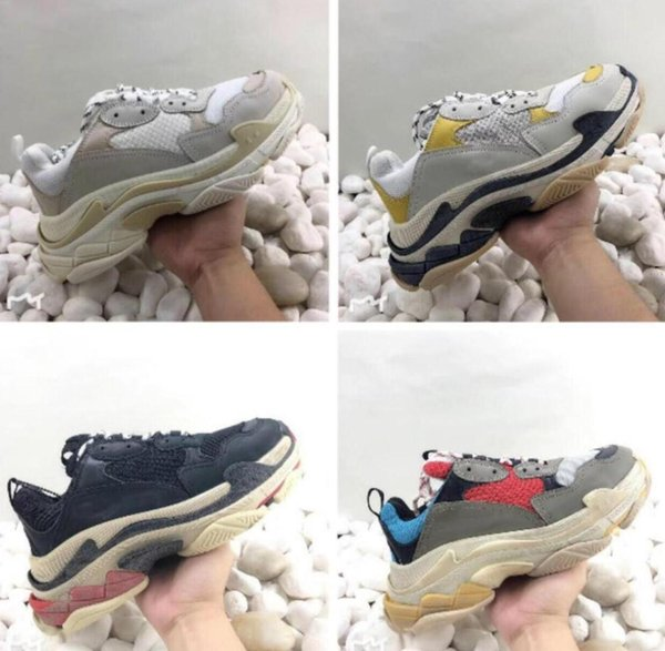 Men Women whole 2019 Multi desi woCasual Shoes Dad Shoe Triple S Sneakers for Men Women Unveils Trainers Leisure Retro Training Old Grandpa
