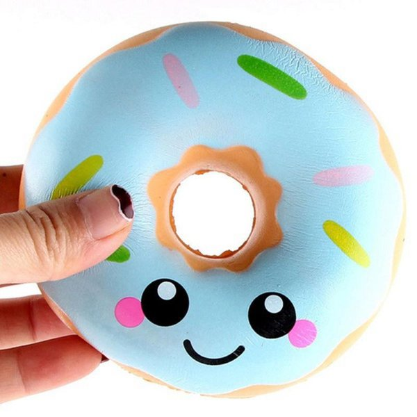 Fidget PU Squishy Doughnut Slow Rising Decompression Toys Jumbo Food Bread Cake For Kids Adults Blue Pink Stress Relief Decompression Toy