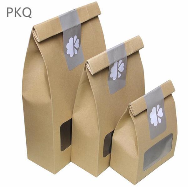 30pcs Kraft Paper Bag con finestra Stand up Packaging Bag Alta qualità Kraft Paper Coffee brown Confezione regalo per bomboniere