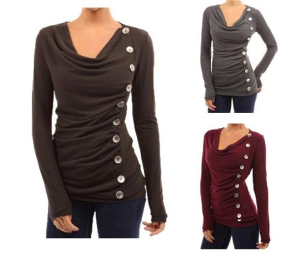 Taste T-shirt Tops Reine Farbe Wasserfallausschnitt Mit Langen Ärmeln Shirts Büro Dünne Womens Home Kleidung Schwarz Rot Farbe Heißer Verkauf