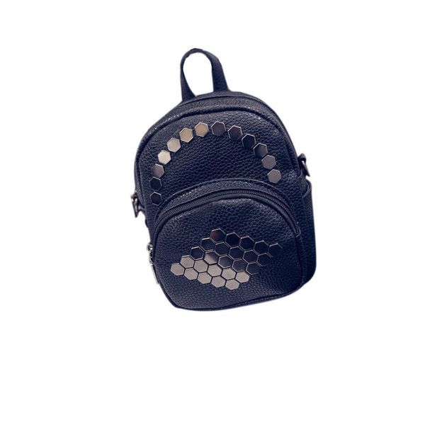New Fashion Cool Backpack Women Leather Hexagonal Rivets Solid Color Simple Bags Black Pink White Leather Travel Bags Backpack