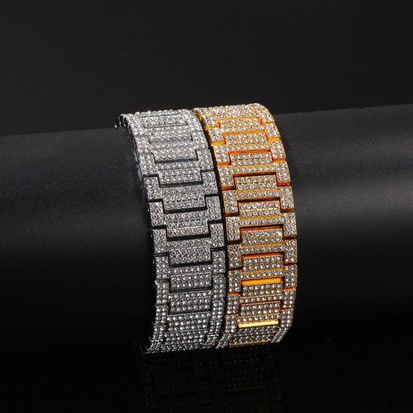 21MM Big wide Watch Band Link Chain Bracelets Hip Hop Rapper Jewelry Gold Silver Bracelets