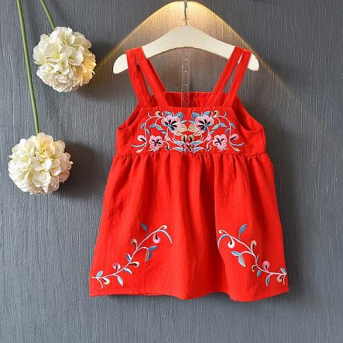 New Style Girl National Style Embroidery Sling Skirt Baby Vest Skirt Of Summer Dress
