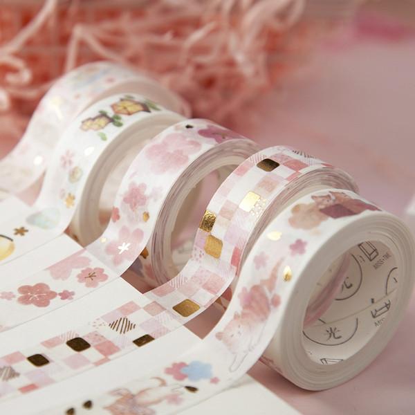 JIANWU 15mm * 5m Pink sakura Cute Washi Tape Nastro adesivo trasparente Kawaii Decor Sticker per il diario Scuola Journal kawaii 2016