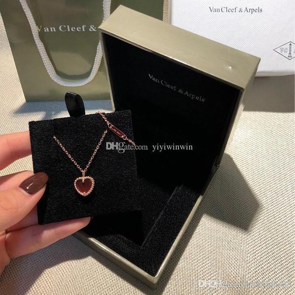 neue stil damen halskette damen schmuck luxus dame 925 silber klassische liebesanhänger goldkette pendentif damen collier femme original box