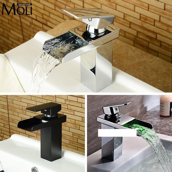 Оптово Черный бассейн кран для ванной комнаты втирать масло-бронзового Soild латунного умывальника кранов квадратных излив водопад кран смеситель