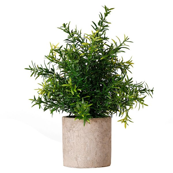 Mini Potted Plastic Fake Green Plant for Home Decor (Bamboo Leaves)