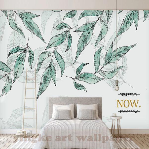Özel Fotoğraf Duvar Kağıtları yeşil bitkiler 3D Duvar Resimleri Duvar Kağıtları Oturma Odası Yatak Odası yaprak Sanat Duvar Kağıtları için Ev Dekor Boyama
