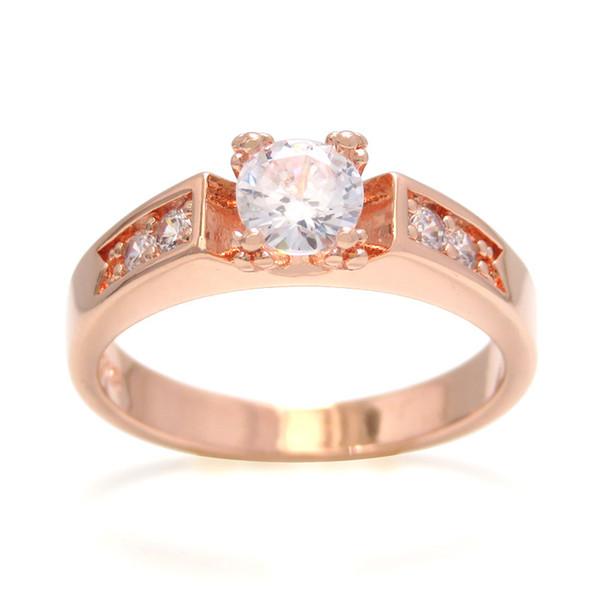 Кольцо с бриллиантом из розового золота с четырьмя когтями Женская мода Простое кольцо с цирконом