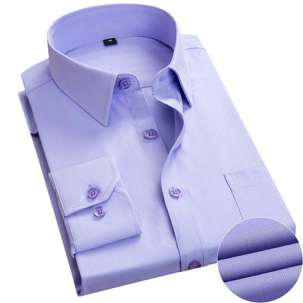 Men Dress di buona qualità camicia sottile lunga del manicotto dell'uomo di marca progettista delle camice solide camice di affari Maschio Abbigliamento Fit Camisa Masculina