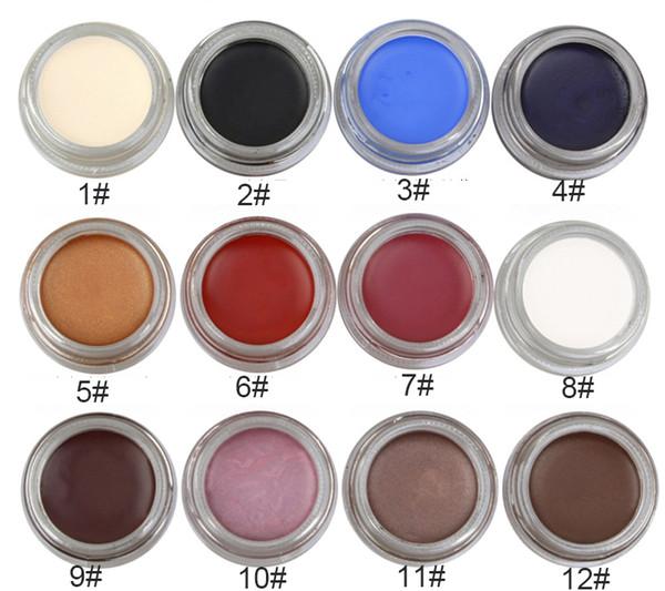 Tek paketi ile 12 renkli göz kalemi jel ışıltı mat mix renk göz kalemi tutkal uzun Sigara halo boyama süren logo baskı kabul