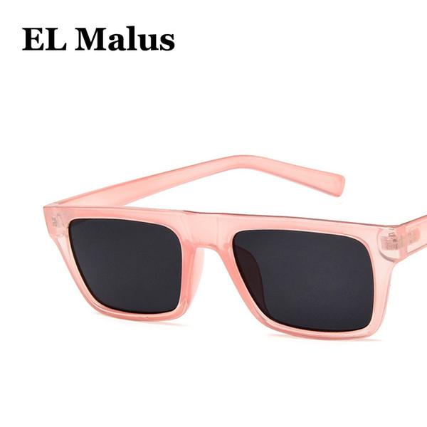 [EL Malus]Retro UV400 Sunglasses Square Thin Frame Women Famous Brand Designer Black Pink Red Lens Mirror Sun Glasses Female SG077