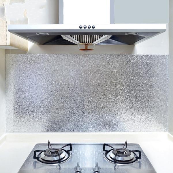 Kitchen Oil Proof Wall Sticker Cupboard Lampblack Wallpaper Self Sticking Dust proof Waterproof Aluminum Foil Thicken home Supplies 1 9zdC1
