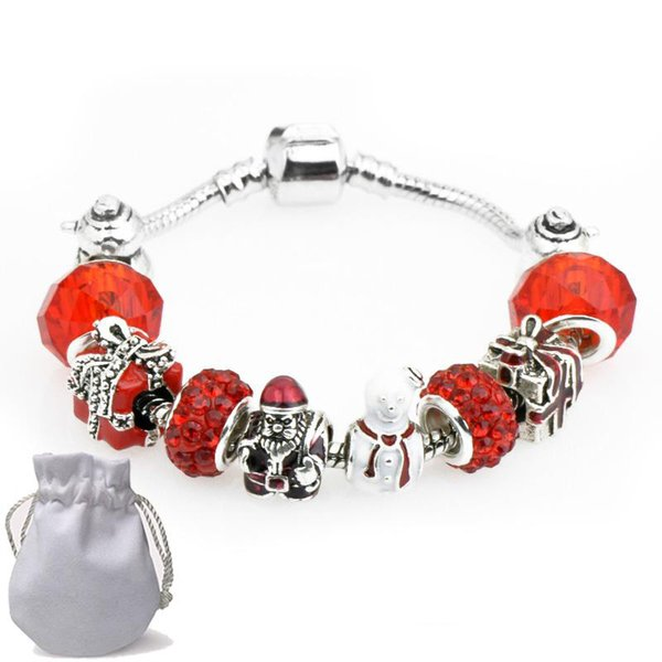 Bracelets Fit Pandora Young people Red Crystal Glass Beads Snowman Square box Bangle Silver Chain Christmas Gift Jewelry Kids