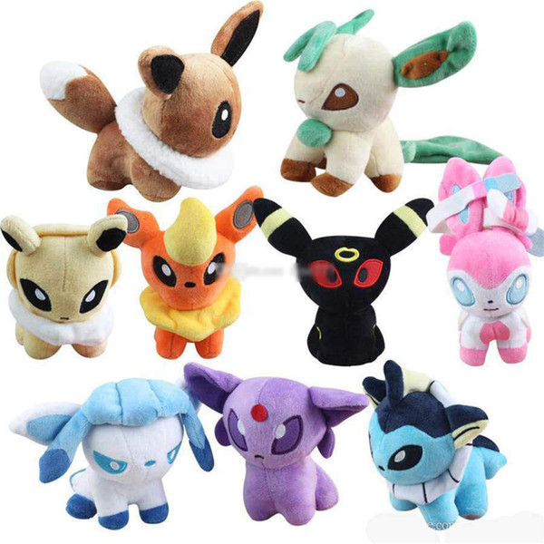 top popular Pocket Monster Plush Toys Stuffed Dolls Umbreon Bikachu Eevee Toys Espeon Jolteon Vaporeon Flareon Glaceon Animals Stuffed Dolls 2020