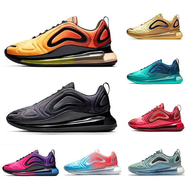 Acheter Nike Air Max 720 Shoes 2019 Triple Black Metallic Platinum Chaussures De Course Sea Forest Team Crimson Red Lever Du Soleil De $82.24 Du