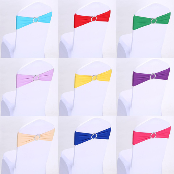 Wedding Chair Cover Sashes Elastic Spandex Chair Band Bow With Buckle for Weddings Event Party Accessories YD0286