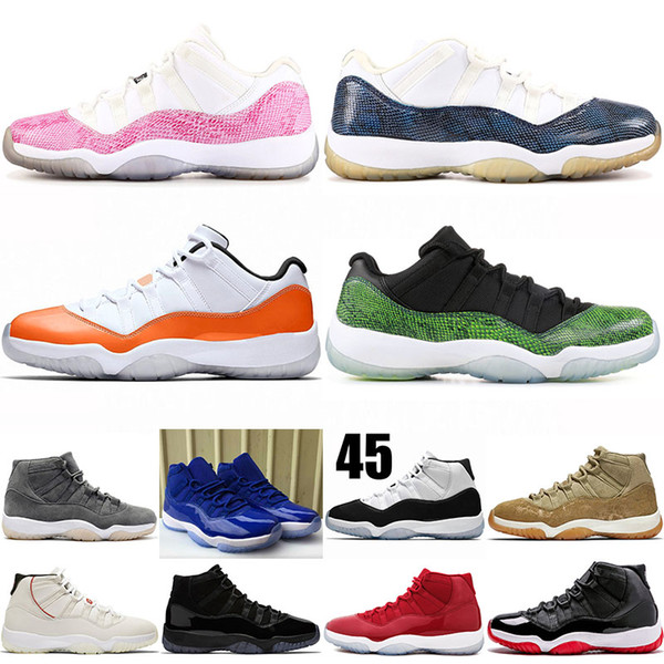 Brand snake snakeskin 11s CITRUS mens basketball shoes CAP AND GOWN summer low CONCORD 45 platinum tint gym red XI womens designer sneakers
