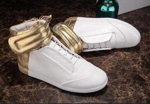 Designer de Sapatos Casuais Homem Novo Designer HookLoop Preto Branco Vermelho Sneaker Botas Casuais Sapatos de Festa Plana Tamanho 46