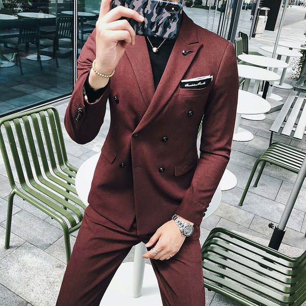 Suits Slim Fit Men Tuxedo Jaquetas Colete Mens Suits With Pants Chinese Tunic Suit 3 Pieces Retro Double Breasted Prom Wine Red