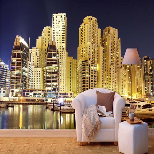 Custom 3d Photo Wallpaper Dubai City Night Landscape 3d Mural Living Room Bedroom Background Wallpaper Murals Papel De Parede 3d The Wallpaper Hd Top